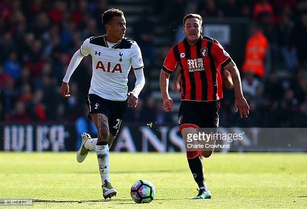 Dele Alli of Tottenham Hotspur and Dan Gosling of AFC Bournemouth compete for the ball during the Premier League match between AFC Bournemouth and...