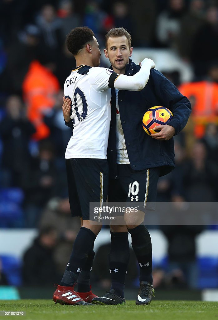 Dele Alli of Tottenham Hotspur (L) and Eric Dier of Tottenham Hotspur (R) embrace after the Premier League match between Tottenham Hotspur and West Bromwich Albion at White Hart Lane on January 14, 2017 in London, England.