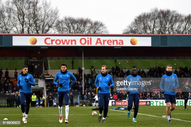 Dele Alli of Tottenham Hotspur and Harry Kane of Tottenham Hotspur warm up during The Emirates FA Cup Fifth Round match between Rochdale and...