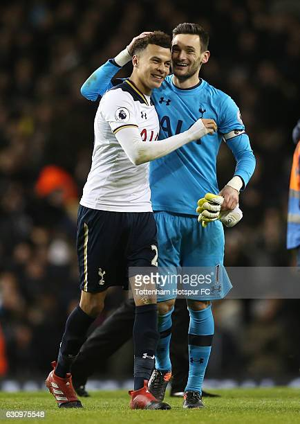 Dele Alli of Tottenham Hotspur and Hugo Lloris of Tottenham Hotspur celebrate together after the Premier League match between Tottenham Hotspur and...