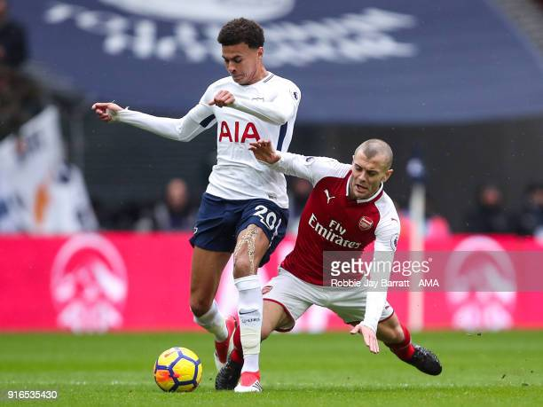 Dele Alli of Tottenham Hotspur and Jack Wilshere of Arsenal during the Premier League match between Tottenham Hotspur and Arsenal at Wembley Stadium...
