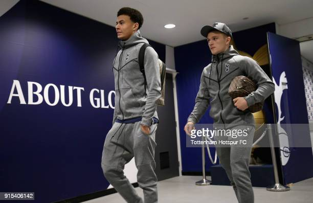 Dele Alli of Tottenham Hotspur and Kieran Trippier of Tottenham Hotspur arrive at the stadium prior to The Emirates FA Cup Fourth Round Replay match...