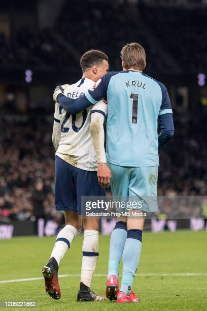 Dele Alli of Tottenham Hotspur and Tim Krul of Norwich City during the FA Cup Fifth Round match between Tottenham Hotspur and Norwich City at...