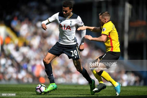 Dele Alli of Tottenham Hotspur and Tom Cleverley of Watford battle for possession during the Premier League match between Tottenham Hotspur and...