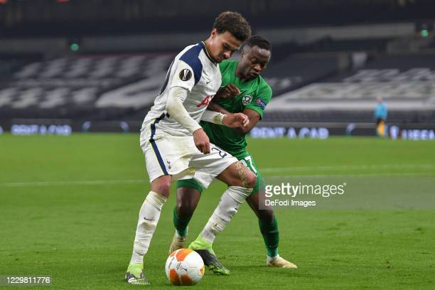 Dele Alli of Tottenham Hotspur and Vladislav Boykov STOYANOV of Ludogorets battle for the ball during the UEFA Europa League Group J stage match...