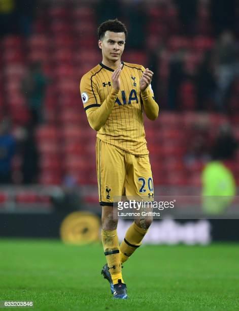Dele Alli of Tottenham Hotspur applauds the fans after the Premier League match between Sunderland and Tottenham Hotspur at Stadium of Light on...