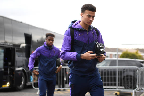 Dele Alli of Tottenham Hotspur arrives at the stadium prior to the Premier League match between Burnley FC and Tottenham Hotspur at Turf Moor on...
