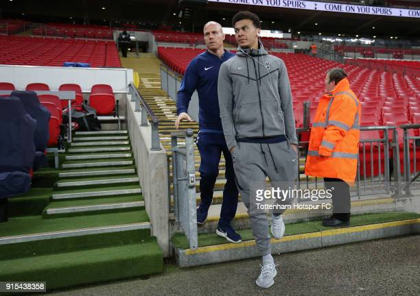 Dele Alli of Tottenham Hotspur arrives at the stadium prior to The Emirates FA Cup Fourth Round Replay match between Tottenham Hotspur and Newport...