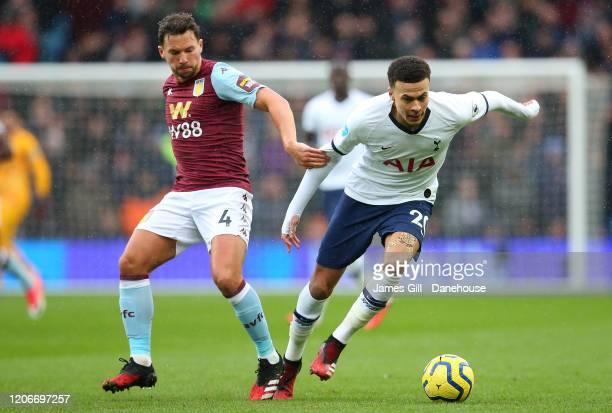 Dele Alli of Tottenham Hotspur beats Daniel Drinkwater of Aston Villa during the Premier League match between Aston Villa and Tottenham Hotspur at...