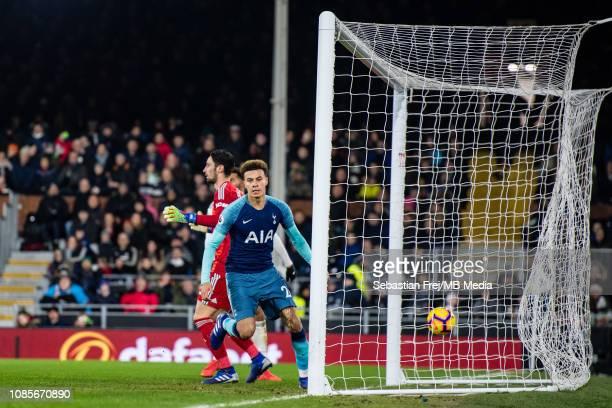 Dele Alli of Tottenham Hotspur celebrate after scoring goal during the Premier League match between Fulham FC and Tottenham Hotspur at Craven Cottage...