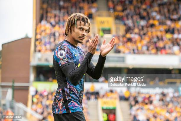 Dele Alli of Tottenham Hotspur celebrate after scoring his team's first goal during the Premier League match between Wolverhampton Wanderers and...