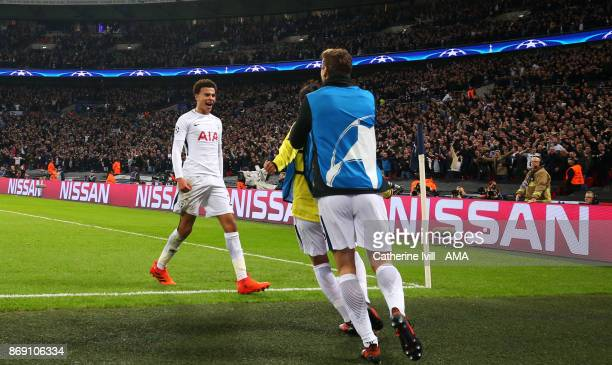 Dele Alli of Tottenham Hotspur celebrates after he scores a goal to make it 20 during the UEFA Champions League group H match between Tottenham...