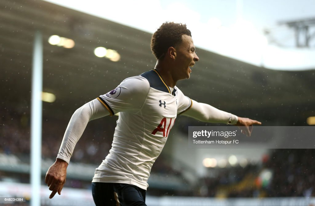 Dele Alli of Tottenham Hotspur celebrates after he scores his sides third goal during the Premier League match between Tottenham Hotspur and Everton at White Hart Lane on March 5, 2017 in London, England.