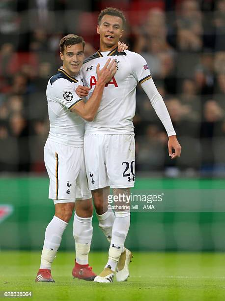 Dele Alli of Tottenham Hotspur celebrates after he scores to make it 11 with Harry Winks during the UEFA Champions League match between Tottenham...