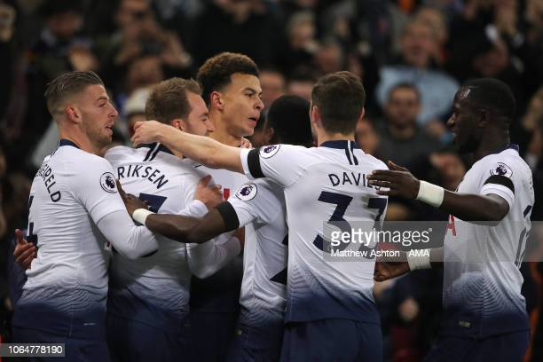 Dele Alli of Tottenham Hotspur celebrates after scoring a goal to make it 10 during the Premier League match between Tottenham Hotspur and Chelsea FC...