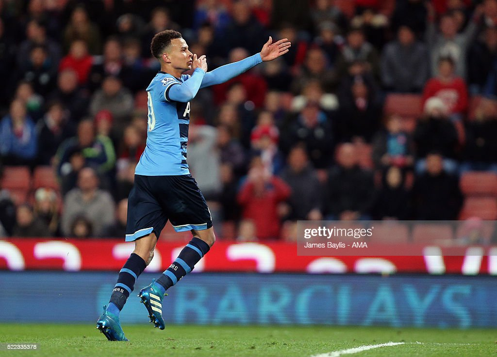 Dele Alli of Tottenham Hotspur celebrates after scoring a goal to make it 0-2 during the Barclays Premier League match between Stoke City and Tottenham Hotspur at Britannia Stadium on April 18, 2016 in Stoke on Trent, England