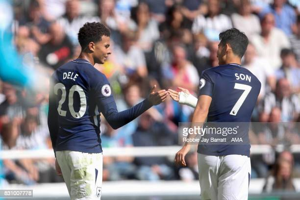 Dele Alli of Tottenham Hotspur celebrates after scoring a goal to make it 01 during the Premier League match between Newcastle United and Tottenham...