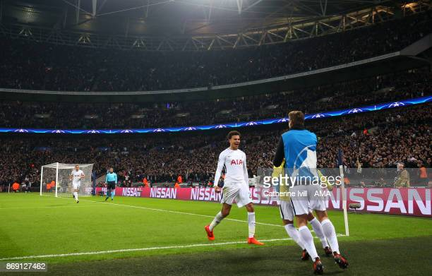 Dele Alli of Tottenham Hotspur celebrates after scoring a goal to make it 20 during the UEFA Champions League group H match between Tottenham Hotspur...
