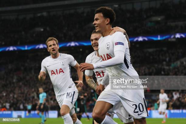 Dele Alli of Tottenham Hotspur celebrates after scoring a goal to make it 10 during the UEFA Champions League group H match between Tottenham Hotspur...