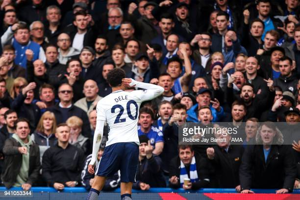 Dele Alli of Tottenham Hotspur celebrates after scoring a goal to make it 12 during the Premier League match between Chelsea and Tottenham Hotspur at...