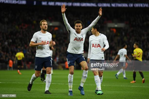 Dele Alli of Tottenham Hotspur celebrates after scoring during the Premier League match between Tottenham Hotspur and Watford at Wembley Stadium on...