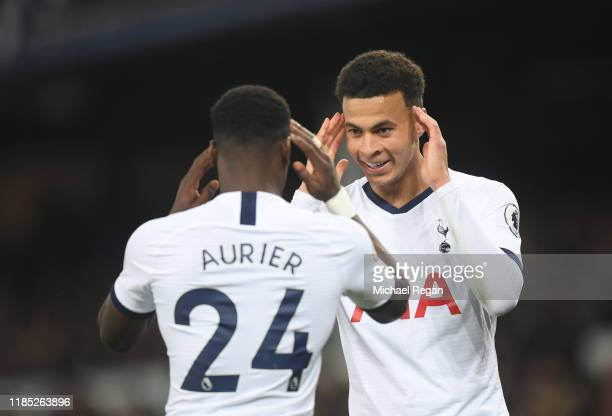 Dele Alli of Tottenham Hotspur celebrates after scoring his sides first goal Serge Aurier of Tottenham Hotspur during the Premier League match...