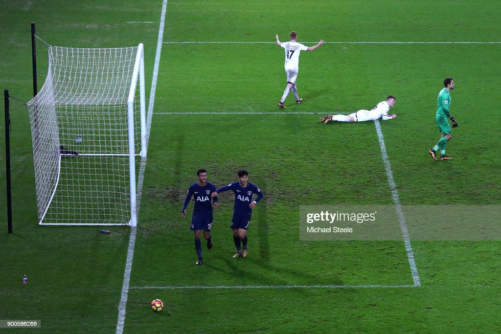 Dele Alli of Tottenham Hotspur celebrates after scoring his sides second goal with Heung-Min Son of Tottenham Hotspur during the Premier League match between Swansea City and Tottenham Hotspur at Liberty Stadium on January 2, 2018 in Swansea, Wales.