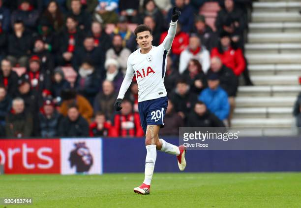 Dele Alli of Tottenham Hotspur celebrates after scoring his sides first goal during the Premier League match between AFC Bournemouth and Tottenham...