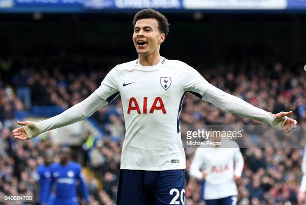 Dele Alli of Tottenham Hotspur celebrates after scoring his sides third goal during the Premier League match between Chelsea and Tottenham Hotspur at...