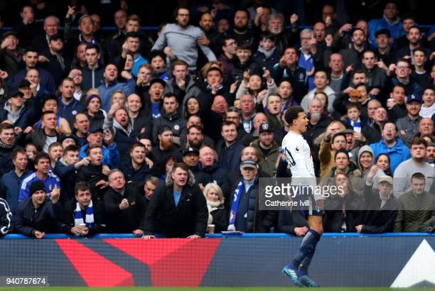 Dele Alli of Tottenham Hotspur celebrates after scoring his sides second goal during the Premier League match between Chelsea and Tottenham Hotspur...