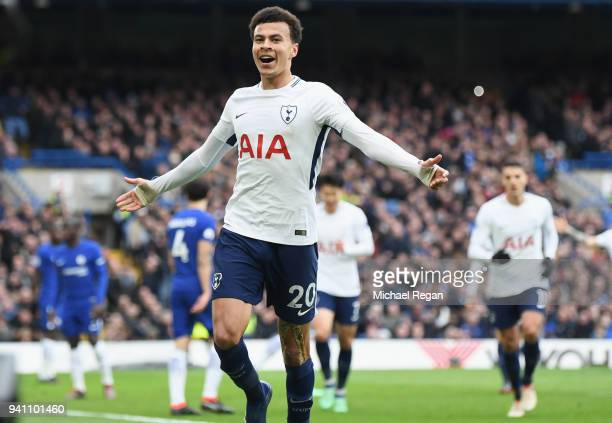 Dele Alli of Tottenham Hotspur celebrates after scoring his side's third goal during the Premier League match between Chelsea and Tottenham Hotspur...