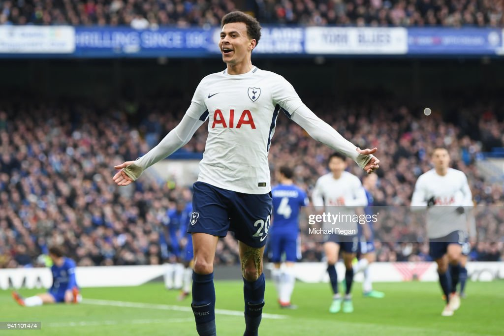 Dele Alli of Tottenham Hotspur celebrates after scoring his side's third goal during the Premier League match between Chelsea and Tottenham Hotspur at Stamford Bridge on April 1, 2018 in London, England.