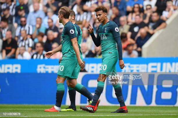 Dele Alli of Tottenham Hotspur celebrates after scoring his team's second goal during the Premier League match between Newcastle United and Tottenham...