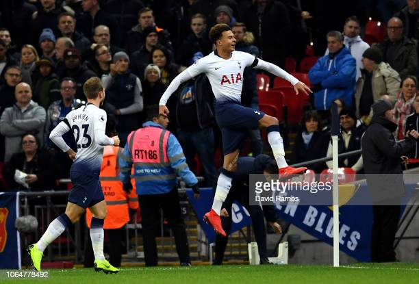 Dele Alli of Tottenham Hotspur celebrates after scoring his team's first goal during the Premier League match between Tottenham Hotspur and Chelsea...