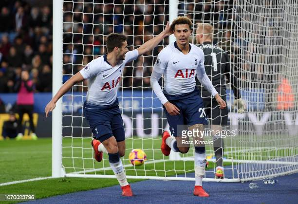 Dele Alli of Tottenham Hotspur celebrates after scoring his team's second goal with Harry Winks of Tottenham Hotspur during the Premier League match...