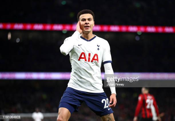 Dele Alli of Tottenham Hotspur celebrates after scoring his team's second goal during the Premier League match between Tottenham Hotspur and AFC...
