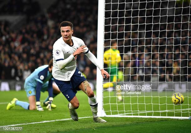 Dele Alli of Tottenham Hotspur celebrates after scoring his team's first goal during the Premier League match between Tottenham Hotspur and Norwich...