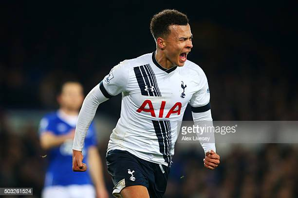 Dele Alli of Tottenham Hotspur celebrates after scoring his team's first goal during the Barclays Premier League match between Everton and Tottenham...