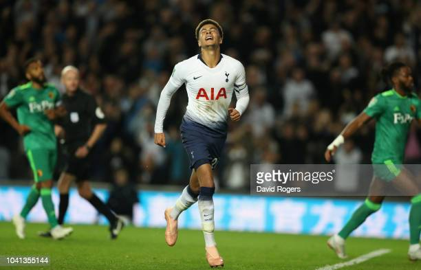 Dele Alli of Tottenham Hotspur celebrates after scoring their first goal during the Carabao Cup Third Round match between Tottenham Hotspur and...