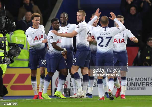 Dele Alli of Tottenham Hotspur celebrates after scoring their second goal during the Premier League match between Leicester City and Tottenham...