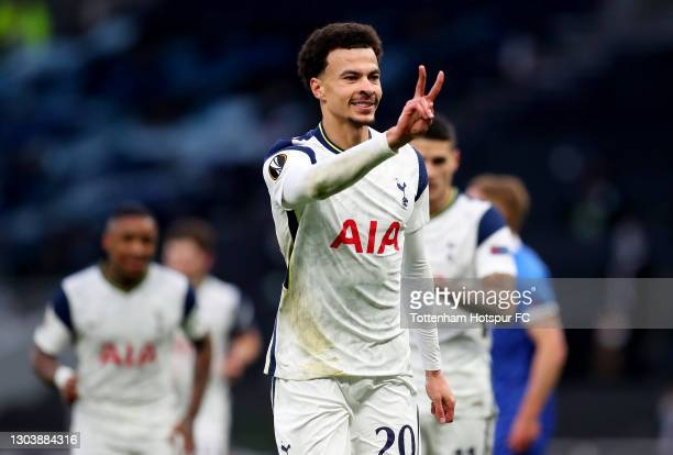 Dele Alli of Tottenham Hotspur celebrates after scoring their team's first goal during the UEFA Europa League Round of 32 match between Tottenham...