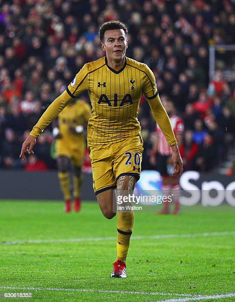 Dele Alli of Tottenham Hotspur celebrates as he scores their first and equalising goal during the Premier League match between Southampton and...