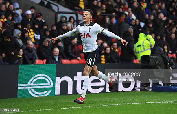 Dele Alli of Tottenham Hotspur celebrates as he scores their third goal during the Premier League match between Watford and Tottenham Hotspur at...
