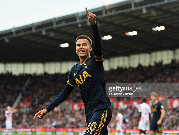 Dele Alli of Tottenham Hotspur celebrates his goal during the Premier League match between Stoke City and Tottenham Hotspur at Britannia Stadium on...