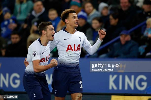 Dele Alli of Tottenham Hotspur celebrates his goal with Harry Winks during the Premier League match between Leicester City and Tottenham Hotspur at...