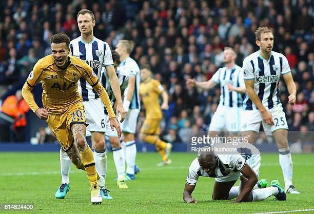 Dele Alli of Tottenham Hotspur celebrates scoring his sides first goal during the Premier League match between West Bromwich Albion and Tottenham...