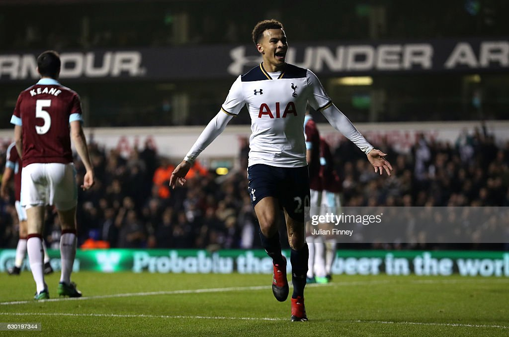 Dele Alli of Tottenham Hotspur celebrates scoring his sides first goal during the Premier League match between Tottenham Hotspur and Burnley at White Hart Lane on December 18, 2016 in London, England.