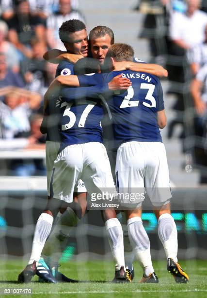 Dele Alli of Tottenham Hotspur celebrates scoring his sides first goal with Harry Kane of Tottenham Hotspur Kyle WalkerPeters of Tottenham Hotspur...