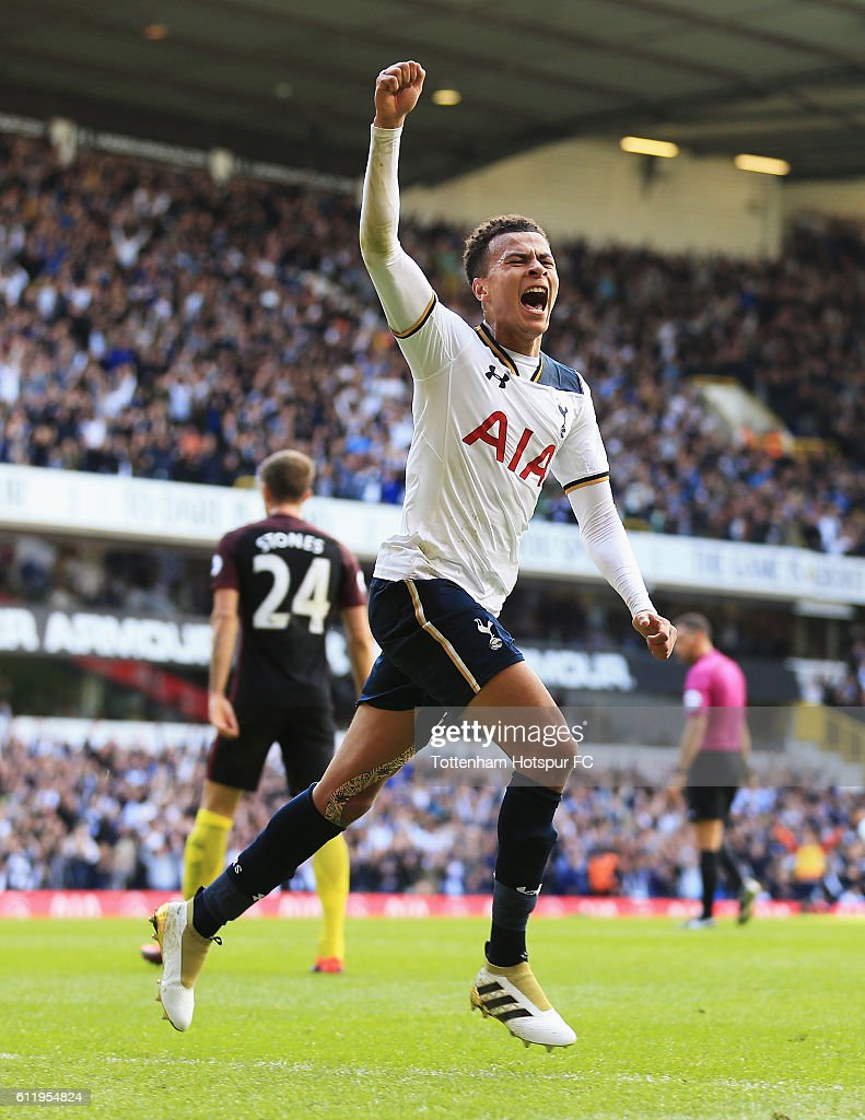 Dele Alli of Tottenham Hotspur celebrates scoring his sides second goal during the Premier League match between Tottenham Hotspur and Manchester City at White Hart Lane on October 2, 2016 in London, England.