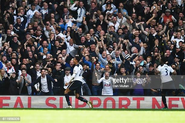 Dele Alli of Tottenham Hotspur celebrates scoring his sides second goal during the Premier League match between Tottenham Hotspur and Manchester City...
